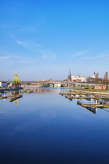 Szczecin city waterfront and marina in the morning, Poland.