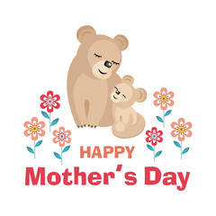 Happy Mother's day. Greeting card with the image of cute animals with cubs. Vector illustration in cartoon style.
