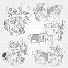 A big diesel engine with the truck depicted in the contour lines on graph paper. The contours of the black line on the grey background.