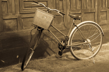 Old bicycles in sepia tone