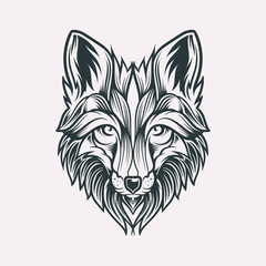 Abstract head fox hand draw
