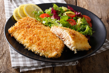 Tasty roasted Fish fillet in breadcrumbs and fresh vegetables close-up. horizontal