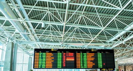 affichage dans l'aéroport