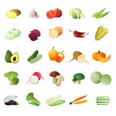 Polygonal Vegetables Icon Set