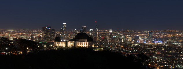 Los Angeles, California, USA downtown skyline from Griffith park at night panorama