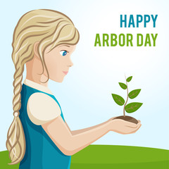 Arbor Day. A girl is planting a tree. Vector illustration for a holiday. Symbol of arboriculture, forests, agriculture. Space for text