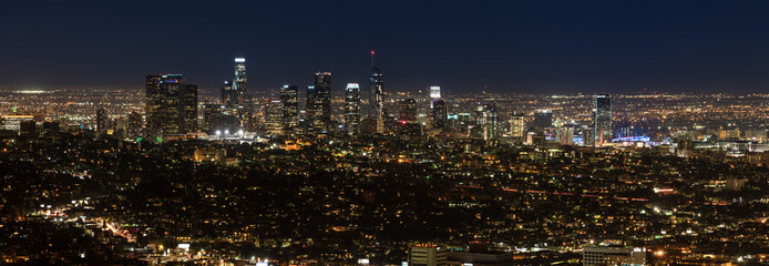 Los Angeles, California, USA downtown skyline at night