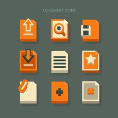 icons Document modern design Orange White on background