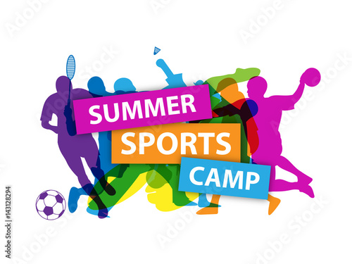 summer sports camp banner with sports silhouettes stock image and