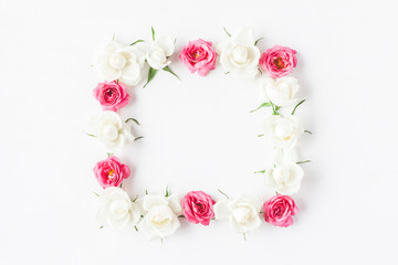 Flowers composition. Frame made of fresh rose flowers. Flat lay, top view