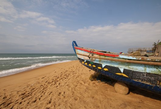 Fishermen Boat at the Beach of Avepozo / Togo has beautiful beaches, for example at Avepozo close to Lomé.Togo, West Africa.