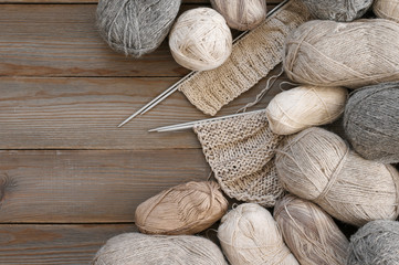 Various neutral colored yarn