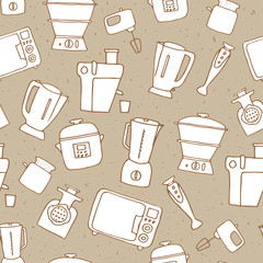 kitchen appliances seamless pattern. vector illustration of hand drawn electric devices