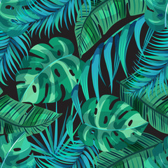 Dark tropical background with palm leaf on a black backdrop. Vector seamless pattern