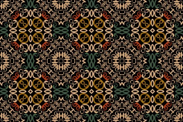 Abstract background medieval symmetrical colored pattern baroque elements