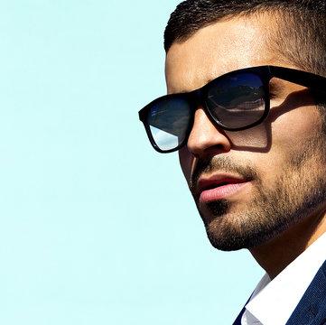 Man model in sunglasses portrait close-up