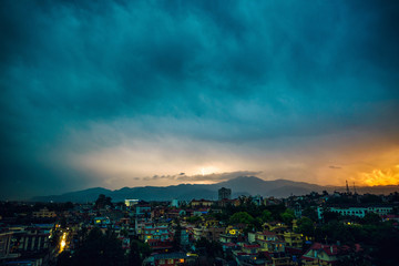 Thunderstorm over Patan at sunset in the Kathmandu Valley, Nepal