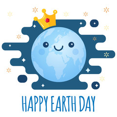 Earth Day vector background. Cartoon globe with golden crown and stars. Cute cheerful smiling planet. Illustration for April 22 celebration. Support for environmental protection, ecology theme
