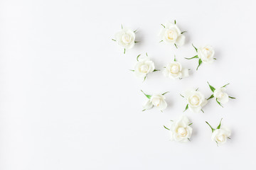 Flowers composition. Rose flowers on white background. Flat lay, top view