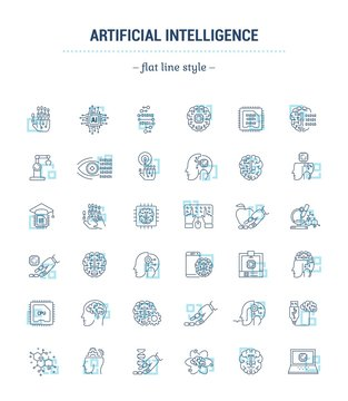 Vector graphic set. Icons in flat, contour, thin, minimal and linear design.Artificial Intelligence. Modern technology. Cyber brain.Concept illustration for Web site, app.Sign,symbol,element.