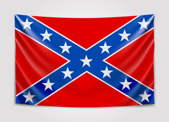Hanging flag of Confederate. Confederate States of America. National flag concept.