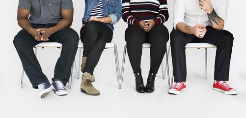 People sitting together studio portrait