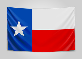 Hanging flag of Texas. State flag concept.