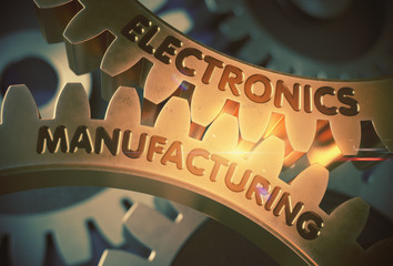 Electronics Manufacturing Golden Cogwheels. Golden Cogwheels with Electronics Manufacturing Concept. 3D Rendering.