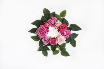 Floral frame with roses on white background.