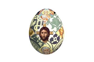 пасхальное яйцо с иконами и орнаментом
