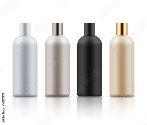 Blank templates of realistic plastic bottles for hair shampoo, milk ...