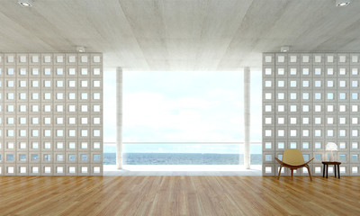 the interior design of open lounge empty room and sea view