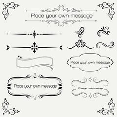 Ornate vintage design elements with calligraphy swirls