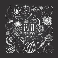Set of fruit in doodle style on the chalkboard