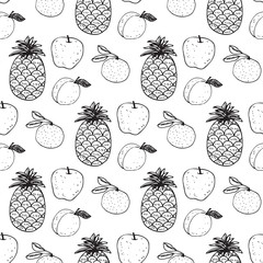 Seamless pattern with the image of fruit
