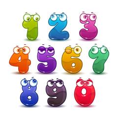 Comic childish colorful numbers set.