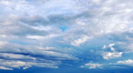 Cloudy blue sky. Fresh air.