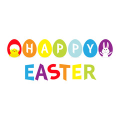 Rainbow color painted egg set line row. Happy Easter colorful text. Seven painting egg shell. Chicken, rabbit bunny. Greeting card. Flat design style. White background. Isolated.