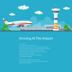 Poster Passenger Plane Arrives at the Airport ,the Plane Comes in to Land on the Background of the Control Tower, Brochure Flyer Design, Vector Illustration