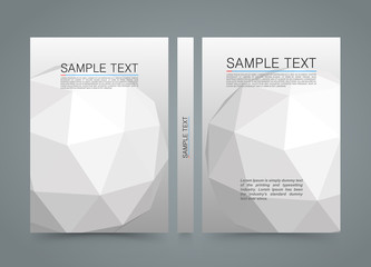 Polygon cover. banner 3d sphere book. A4 size paper, Template design element, Vector background