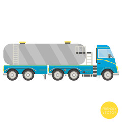 Cartoon transport. Tank truck vector illustration. View from side.