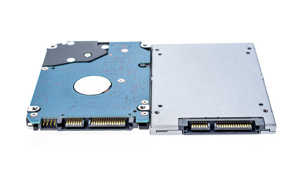 """Solid state drive SSD next to 2,5"""" HDD size comparison."""