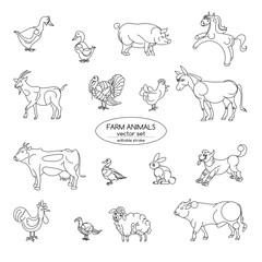 Farm animals, thin line style, flat design. Editable Stroke.