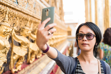 woman selfie at the temple