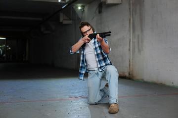 Nice skilled man training to shoot