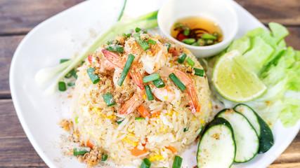 Fried rice with shrimp, (Thai food).