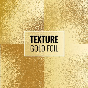 Set of shiny gold foil textures. Golden  background template for invitations, posters, cards.Vector illustration
