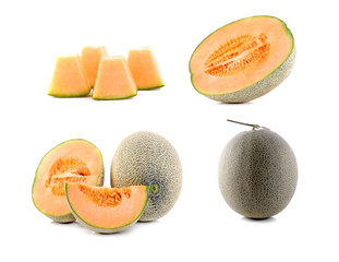 cantaloupe melon slice isolated on white background
