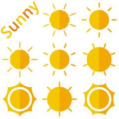 Sun symbols set on white background halfs