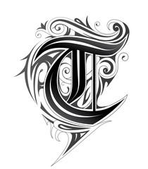 Elegant letter font T